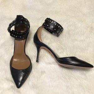 Aquazzura Black Pump With Ankle Strap
